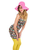 Sexy Young Woman Wearing Short Mini Dress with a Sun Hat Royalty Free Stock Photography