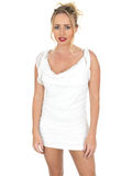 Sexy Young Woman Wearing Short White Dress Looking at Camera Royalty Free Stock Photos