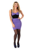 Sexy Young Woman Wearing Tight Purple Short Mini Dress Royalty Free Stock Photo