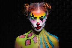 Free Sexy Young Woman With A Face Painting Clown Royalty Free Stock Photo - 159113695