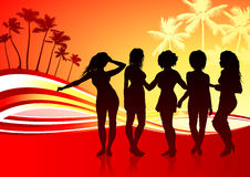 Sexy Young Women on Abstract Tropical Background.  Royalty Free Stock Photos