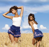 Sexy young women in blue shorts in a wheat golden field Stock Photos