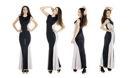 Sexy young women in evening black dress Royalty Free Stock Photo