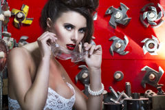 Sexy young women with red lips. Very beautiful sexy fairy woman Royalty Free Stock Photography