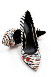 Sexy Zebra print high heeled women's shoes Stock Image