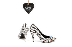 Sexy Zebra print high heeled women's shoes Royalty Free Stock Photo