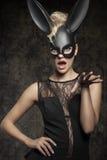 Sexy zwart konijn Stock Afbeeldingen