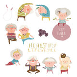 Sey des personnes âgées faisant des exercices illustration stock
