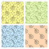 Sey of seamless vector  patterns with insect Royalty Free Stock Images
