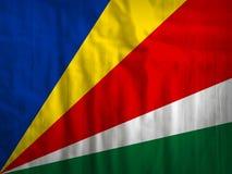 Seychellen-Flaggengewebehintergrund Stockfoto