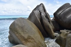Seychellen-Granit-Felsen, La Digue Stockbild