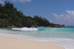 Seychellen-Insel-Sandozean stockfotografie