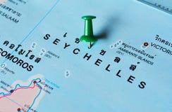 Seychellen-Karte stockfoto