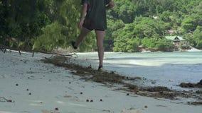 seychellen Praslineiland Volwassen mens die op het strand van verbazend ontzagwekkend eiland met palmen, bomen, blauwe spectacula stock videobeelden