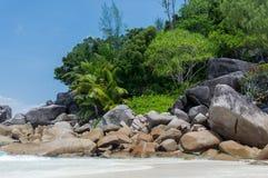 seychellen Schöner Anse Volbert Beach Stockfotografie