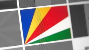 Seychellen-Staatsflagge des Landes Seychellen-Flagge auf der Anzeige, ein digitaler Wässerungseffekt stockbilder
