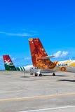 Seychellerna flygplatssikt Arkivbild