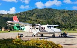 Seychellerna flygplatssikt Fotografering för Bildbyråer