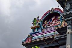 Seychellerna Mahe - 17 Juni 2016 Arul Mihu Navasakthi Vinayagar tempel i Victoria Arkivfoto