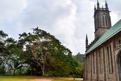 Seychellerna Mahe - 19 Juni 2016 St Francis av den Assisi kyrkan, Baie Lazare Arkivbild