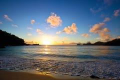 Seychellerna solnedgång Royaltyfri Bild