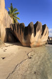Seychelles. Beach with big granite rocks on the island of La Digue, Seychelles, Indian Ocean royalty free stock photo