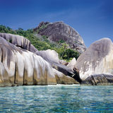 Seychelles. Rock formations on La Digue island, Seychelles stock photography