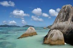 Seychelles anse źródła d ` argent morze i skała zdjęcia royalty free