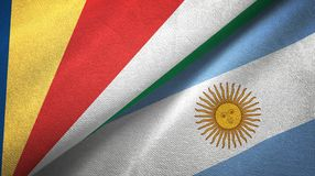 Seychelles and Argentina two flags textile cloth, fabric texture. Seychelles and Argentina flags together textile cloth, fabric texture stock illustration