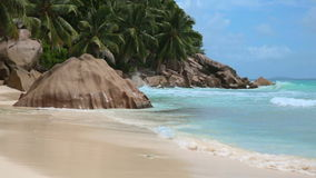 Seychelles. Beach at the island La Dique - Seychelles stock footage