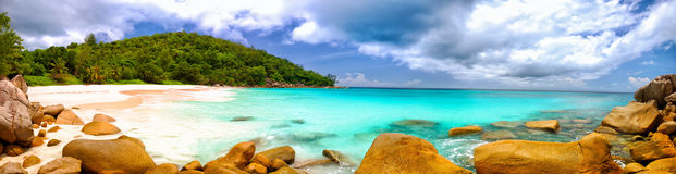 Seychelles beach panorama Royalty Free Stock Photography