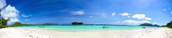 Seychelles beach panorama Stock Images