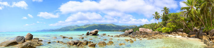 Seychelles beach panorama Stock Photos