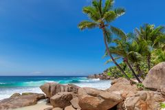 Free Seychelles Beach With Beautiful Rocks And Turquoise Sea Royalty Free Stock Photography - 136605587
