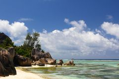 Seychelles dream beach with Doc Stock Images