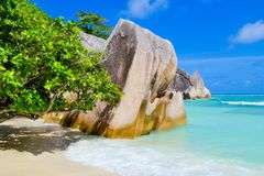 Seychelles dream beach. With turquoise crystal clear water Royalty Free Stock Photography