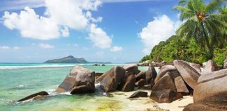 Seychelles escape to Paradise. Stunning La Dique the most idyllic Beautiful Island of The Seychelles in the Indian Ocean. Taken with Polaroid filer and wide Stock Image