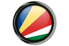 Seychelles flag in the button pin Isolated on White Background Stock Photos