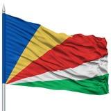 Seychelles Flag on Flagpole Royalty Free Stock Images