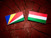 Seychelles flag with Hungarian flag on a tree stump isolated stock illustration