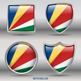 Seychelles Flag in 4 shapes collection with clipping path Royalty Free Stock Image