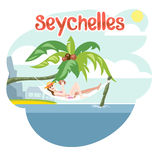 Seychelles flyer with a girl Royalty Free Stock Photos