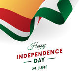 Seychelles Independence Day. 29 June. Waving flag in heart. Vector. Stock Photos