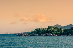 Seychelles, Indian ocean coast, view from the water. Royalty Free Stock Photos