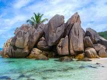 Seychelles island of La Digue, closeup of granitic rocks Stock Photo
