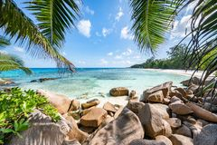 Tropical beach on a beautiful island, Seychelles stock images