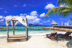 Seychelles islands. La Digue vacation Stock Photography