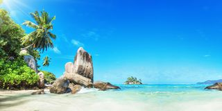 Seychelles Islands. Palm Beach In Tropical Paradise stock images