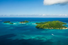 Seychelles Islands. The Seychelles Islands in the sea looking down from the plane royalty free stock photography