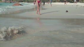 seychelles Isola di Praslin La gente si rilassa sulla spiaggia di un'isola esotica nell'Oceano Indiano archivi video